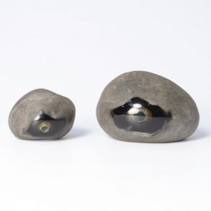 Pair of Optical Scavo Glass Stones by Alfredo Barbini