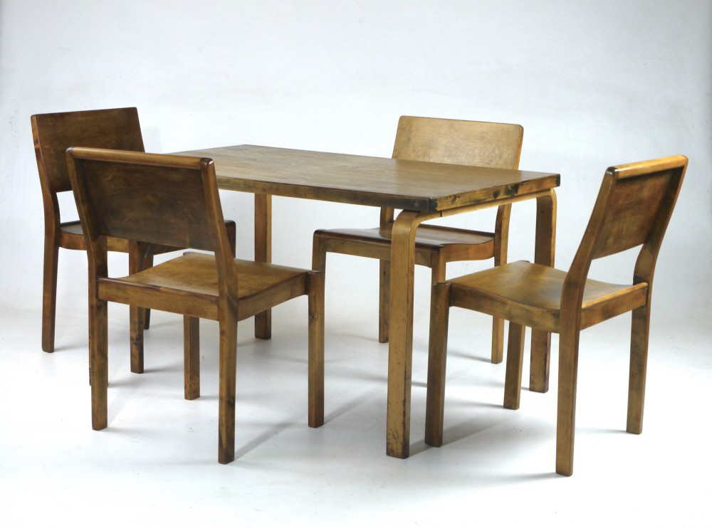 Phenomenal Alvar Aalto 1930S Early Edition Finmar Dining Set 611 Machost Co Dining Chair Design Ideas Machostcouk