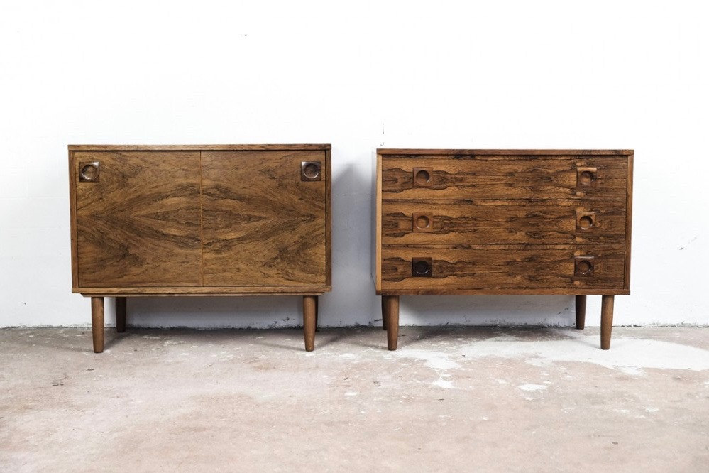 Danish cupboard and/or chest of 3 drawers in rosewood