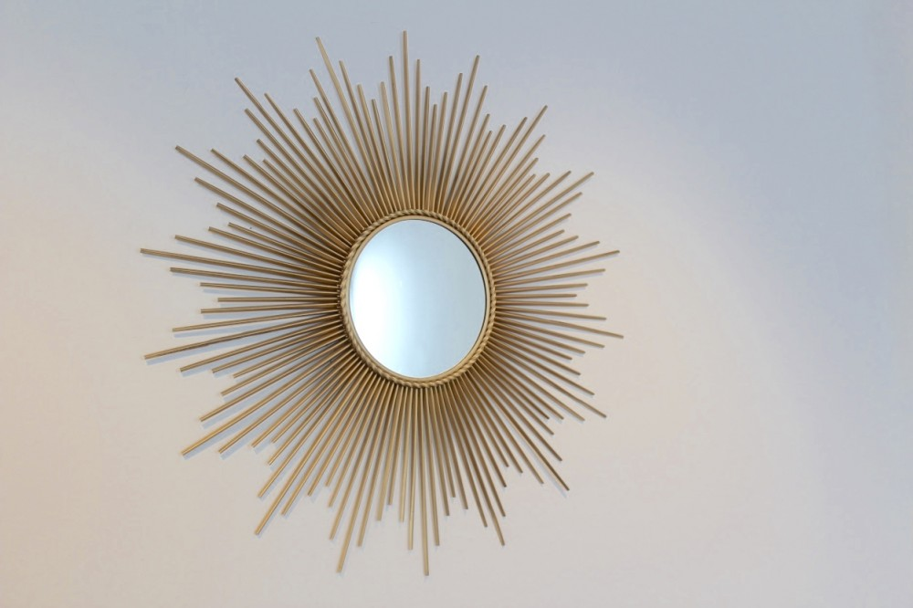 Elegant Gilded Metal Framed Sunburst Mirror by Chaty Vallauris, France 1960s