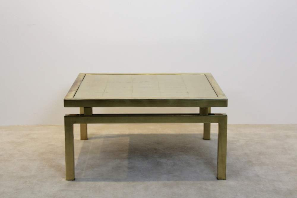 Extraordinary Gold Etched Gl Coffee Table On An Elegant Br Frame