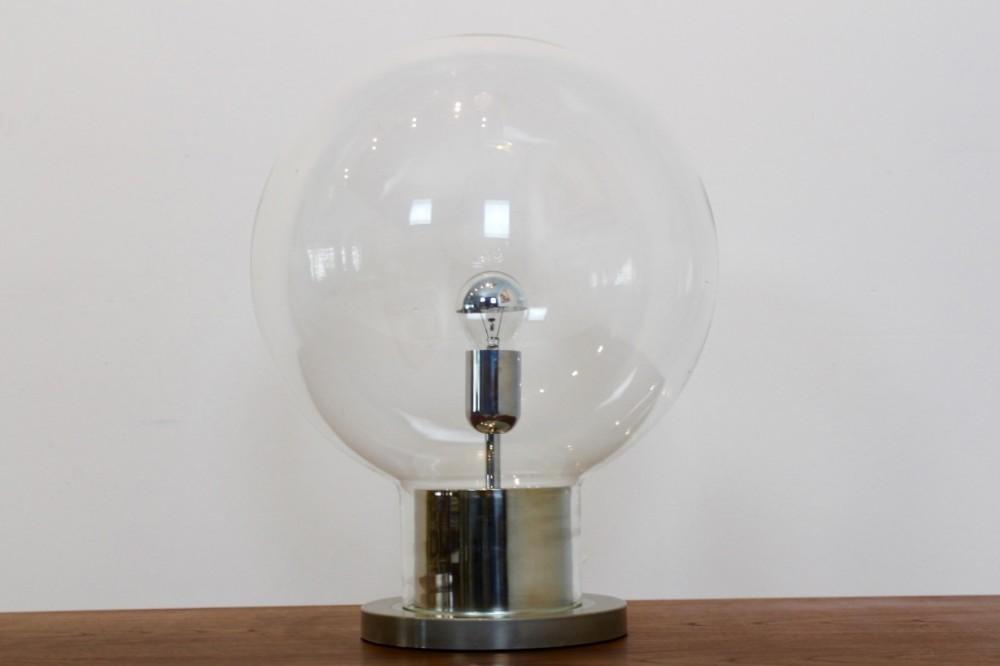 Iconic Raak Amsterdam XL Globe Chrome and Glass Table Lamp