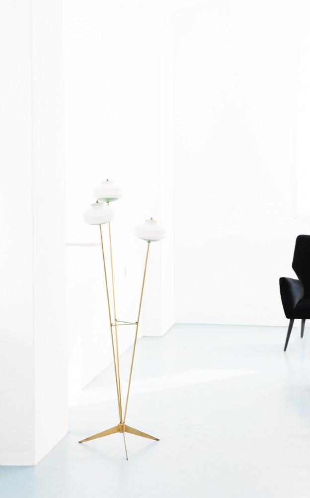 Italian Mid century modern brass and opaline glass floor or base lamp 1950s