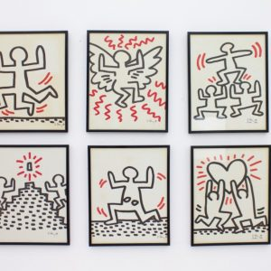 Complete Suite of Six Keith Haring Offset Lithographs, Bayer Suite 1982