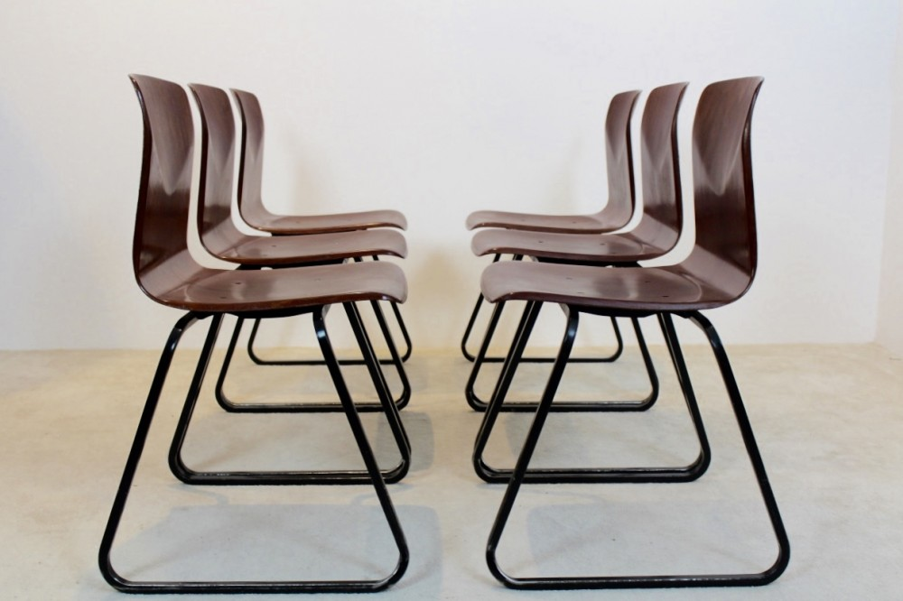 large-stock-brown-stackable-pagholz-galvanitas-s22-industrial-diner-chairs-1970s