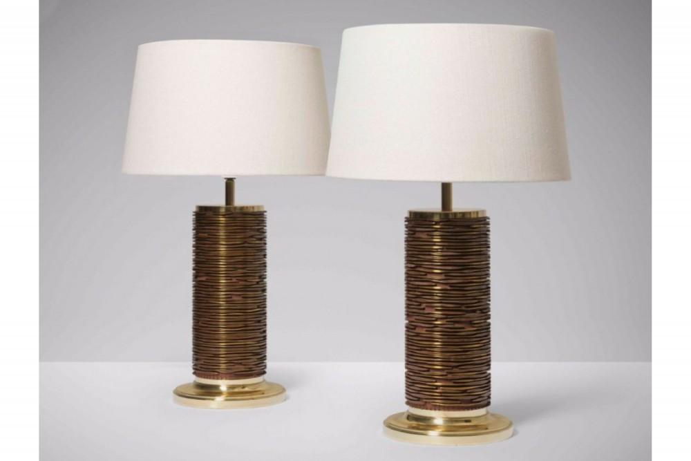 pair-danish-table-lamps-made-original-brass-wallpaper-print-rolls-vintage