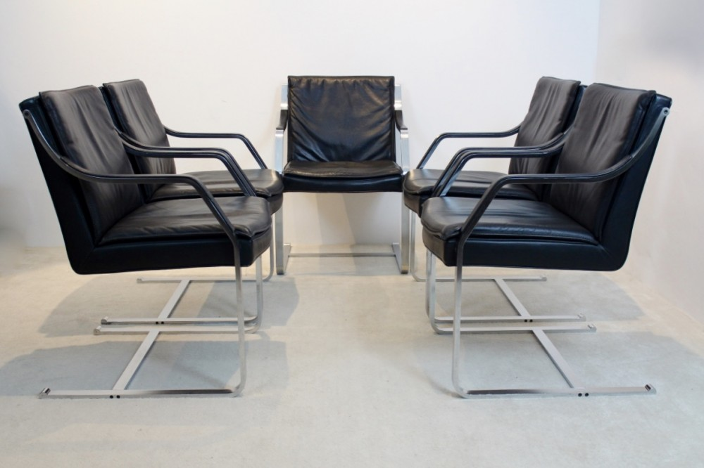 Set of 11 Walter Knoll Leather Art Collection Chairs by Rudolf B. Glatzel