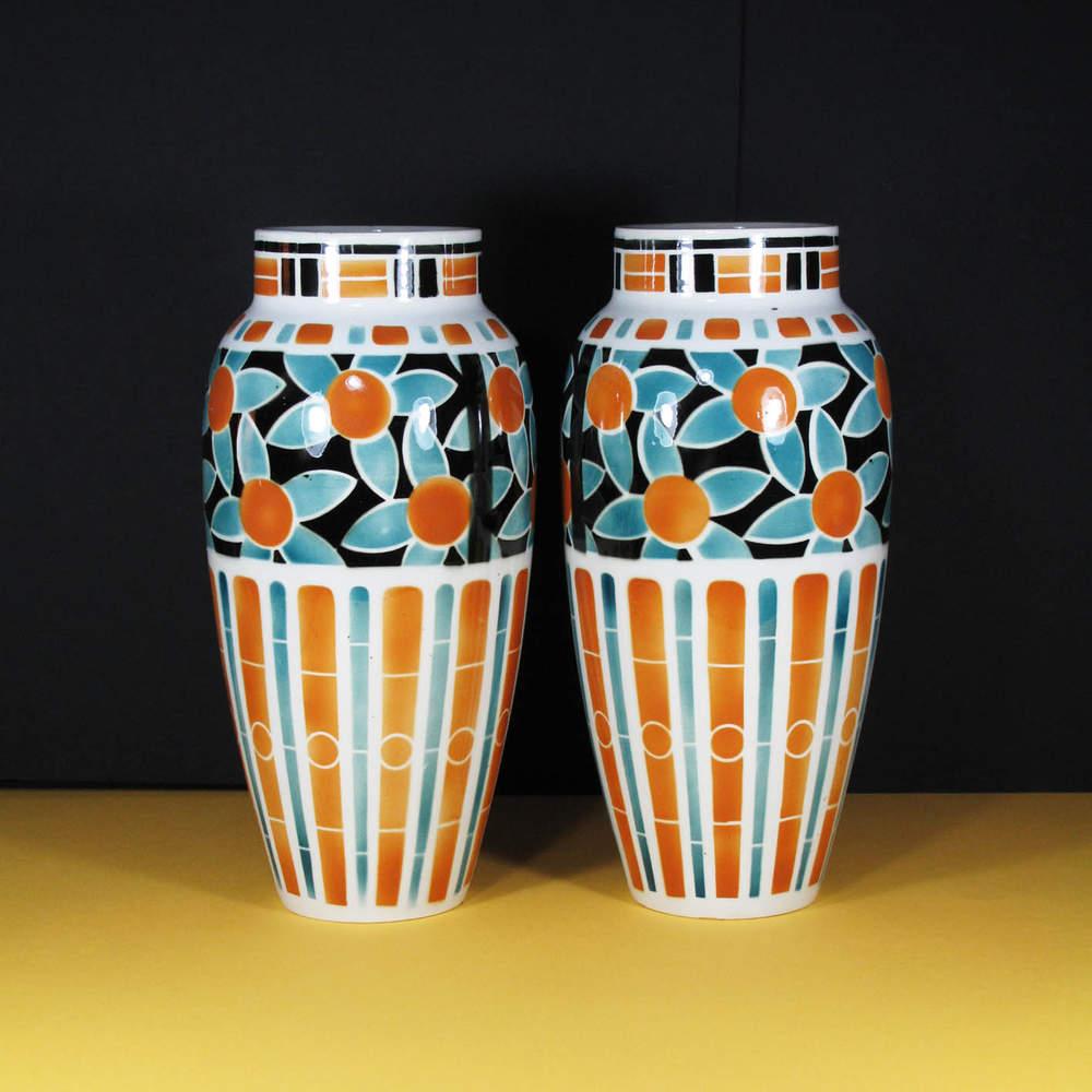 Set of Art Deco vases KELLER & GUÉRIN Luneville 30s