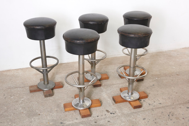 set-five-belgium-revolving-barstools-1960s