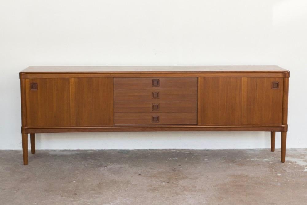 Sideboard in teak by HW Klein for Bramin 225cm square handle