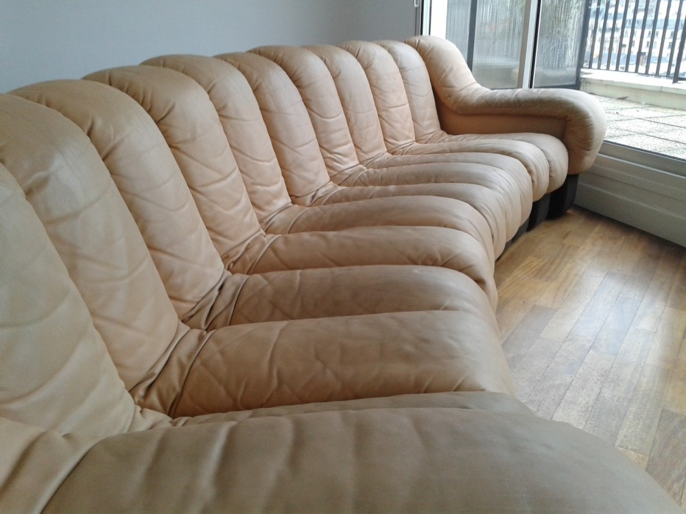 De Sede DS 600 Non Stop Sofa with 12 elements in Natural Leather Ueli Berger