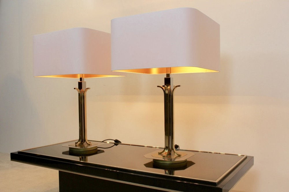 Amazing Pair of Belgian Brass Chrome Mid Century Modern Table Lamps