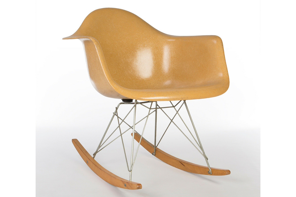Ochre Dark Yellow 1960s Herman Miller Eames RAR Rocking Arm Chairs