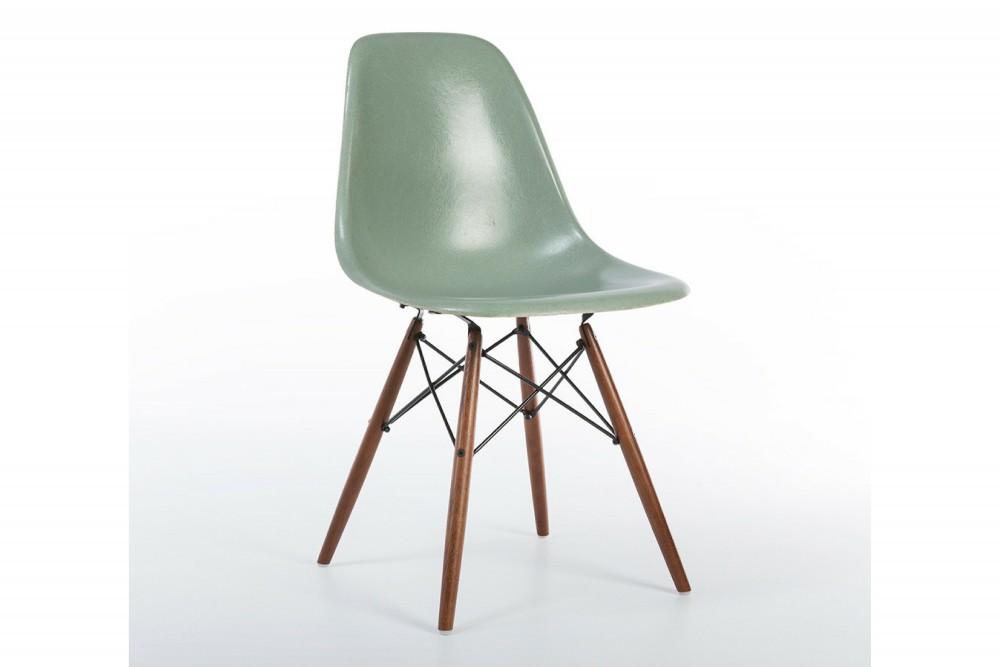 Sea Foam Green 1957 Eames DSW Dowel Side Chairs