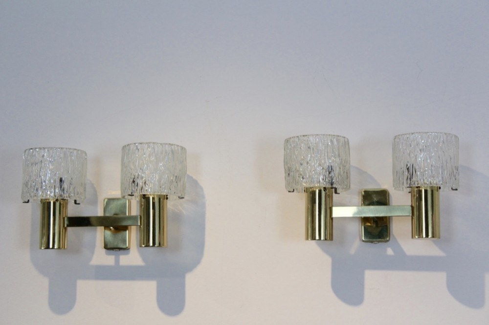 Sophisticated Pair of Brass Wall Lamps, France 1970s