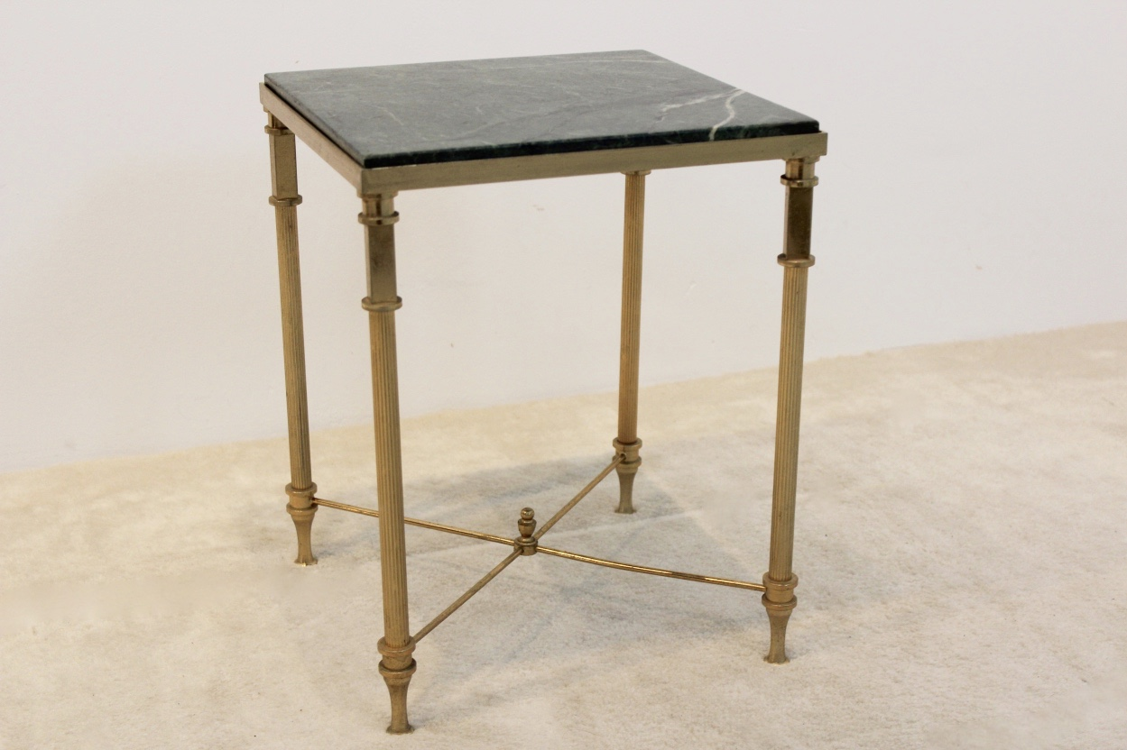 Luxurious French Marble and Brass Side Table, 1960s_1153 Wb