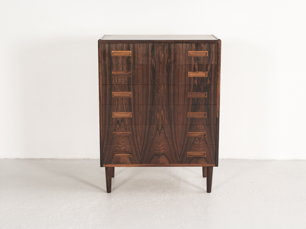 Danish chest of 6 drawers in rosewood by Westergaard