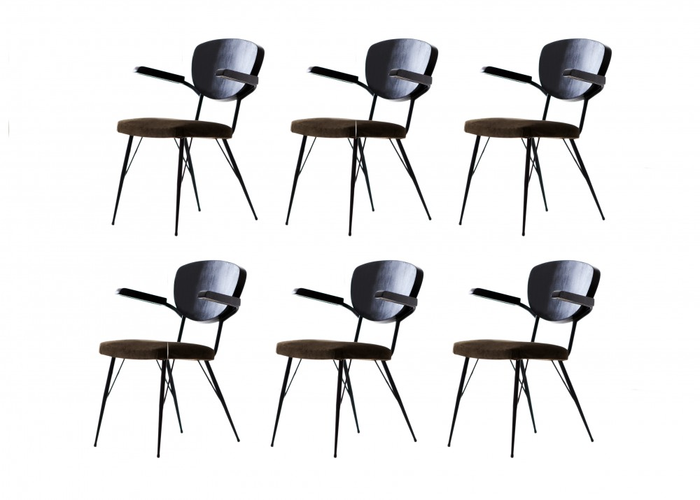 Italian modern dining armchairs 1950s