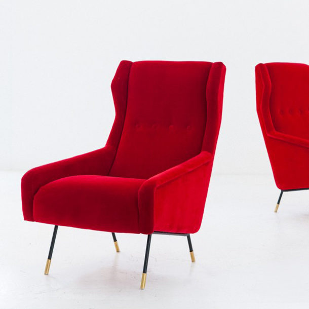 pair-italian-red-velvet-brass-and-iron-lounge-chairs-1950s