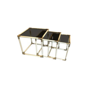 Tommaso Barbi  Brass and Smoked Glass Nesting Side Tables, 1970