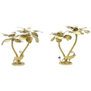 Palm tree brass tables lamps with a deer, 1970s