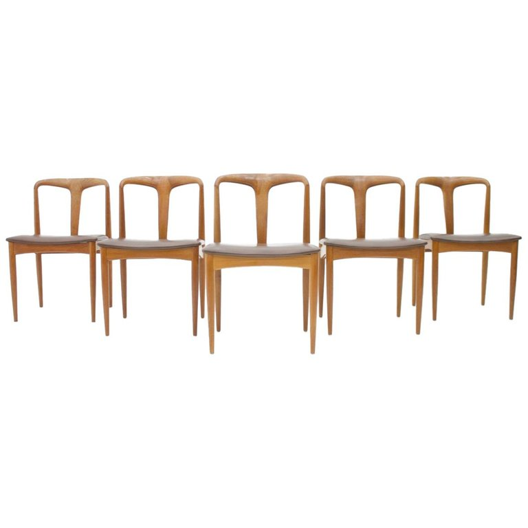 Set of Five Teak Dining Chairs Juliane by Johannes Andersen Denmark
