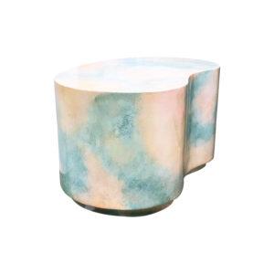 Post-modern plaster plinth gloss sky-scape kidney end table, Karl Springer