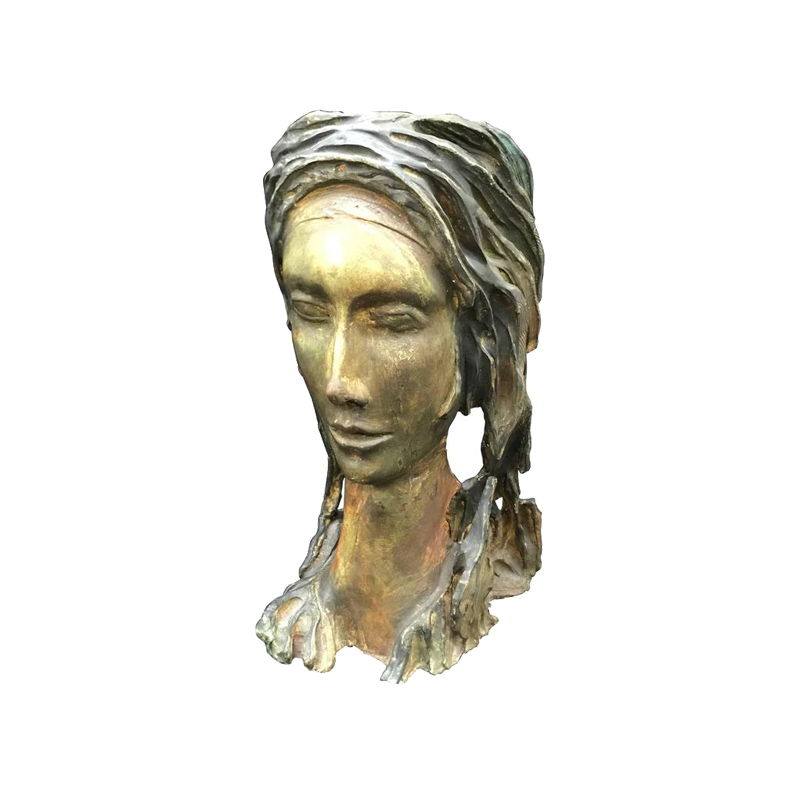 MidCentury Modern Terracotta Sculpture of a Woman Face, 1950