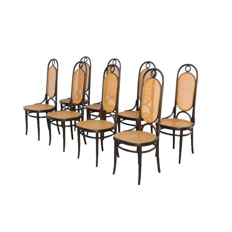 Set of 8 Bentwood Dining Chairs, Thonet Mod. 207R, Long John