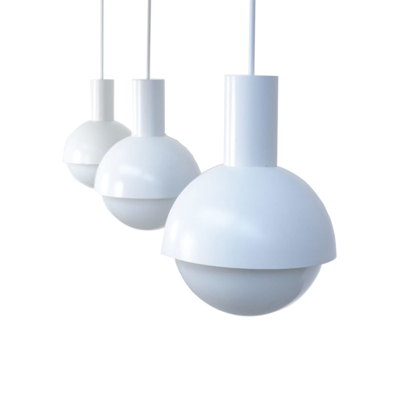 Lot of 14 Amazing XL White Pendant Lamps of the 1970s