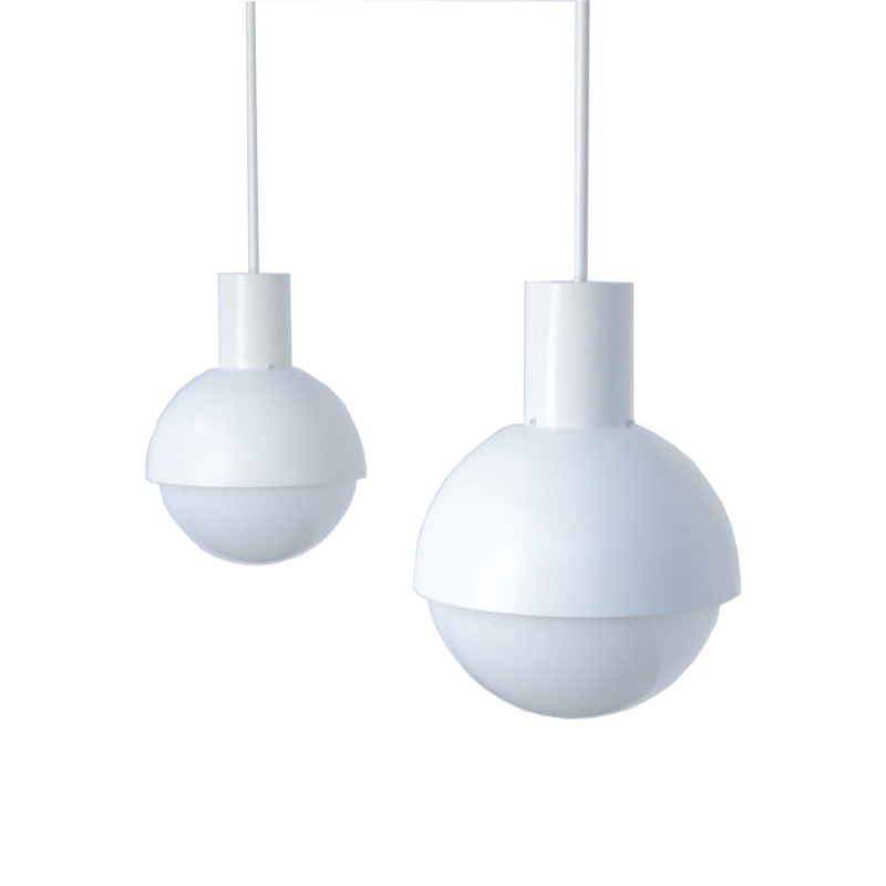 Pair of White Pendant Lamps of the 1970s