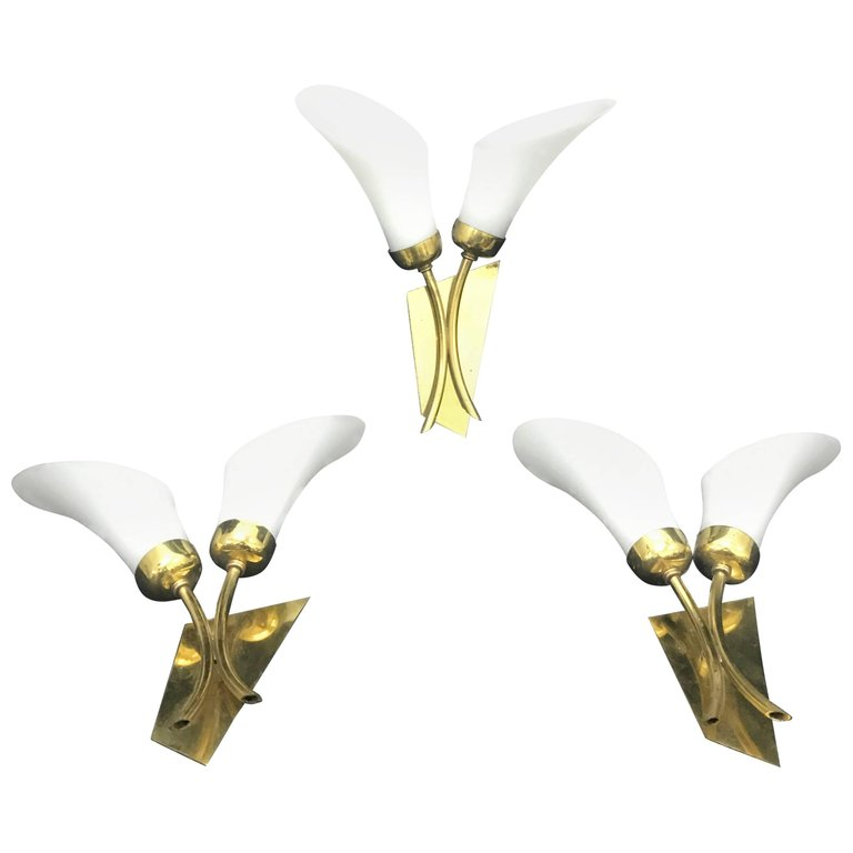 MidCentury Modern Tulip Wall Sconces, Italy, 1950