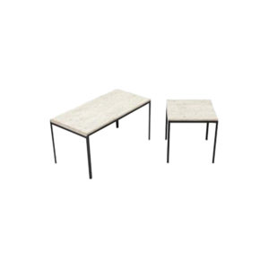 Two Archi Travertine Tables
