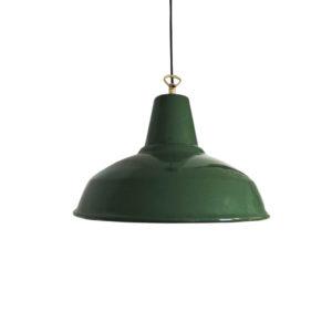 Midcentury Green Industrial Pendant Light, 1950s