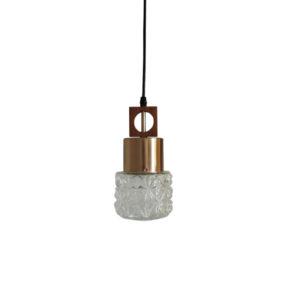Glass and Copper Pendant Light, 1970s