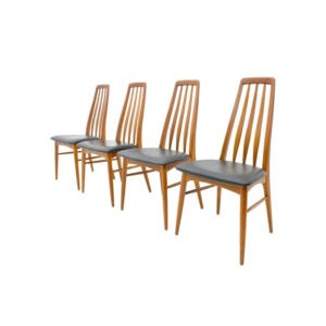 Set of Four Teak & leather Dining Chairs by Niels Koefoed