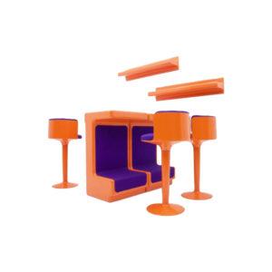 Fiberglass Bar with Three Stools by Wolfgang Feierbach, FG Design 1974