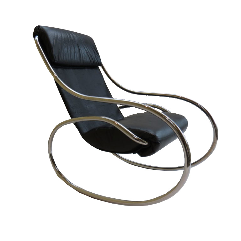 Excellent 1970S Chrome And Black Leather Sculptural Rocking Chair By Heals Andrewgaddart Wooden Chair Designs For Living Room Andrewgaddartcom