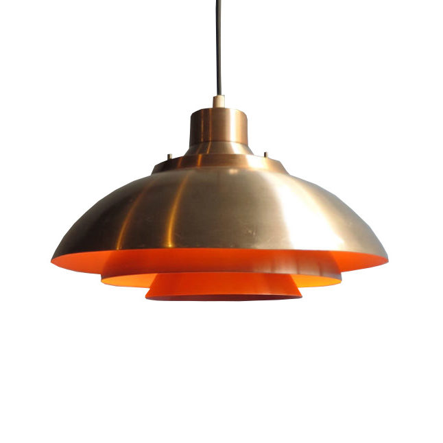 Golden aluminium layered pendant lamp orange interior