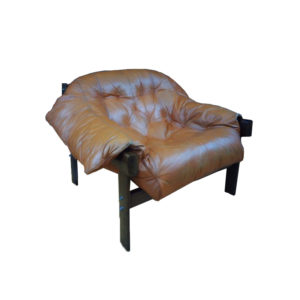 MP 041 Leather and jacaranda armchair by Percival Lafer