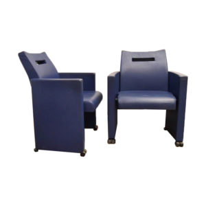 Blue Lounge Chairs by Jean Michel Wilmotte, 1970s, Set of 2