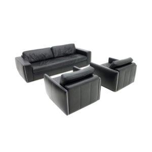 Living Room Set in Black Leather 1970s