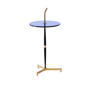 Blue Glass, Black Iron and Brass Table, Italy, 1950s