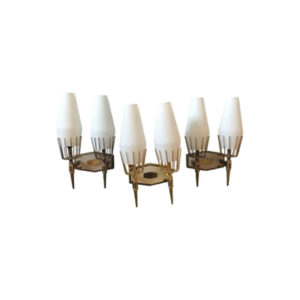 Mid-Century Modern Set of Three Brass and White Glass Italian Wall Sconces, 1950
