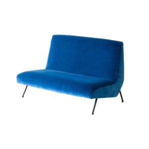 Italian Blue Velvet Sofa, 1950s