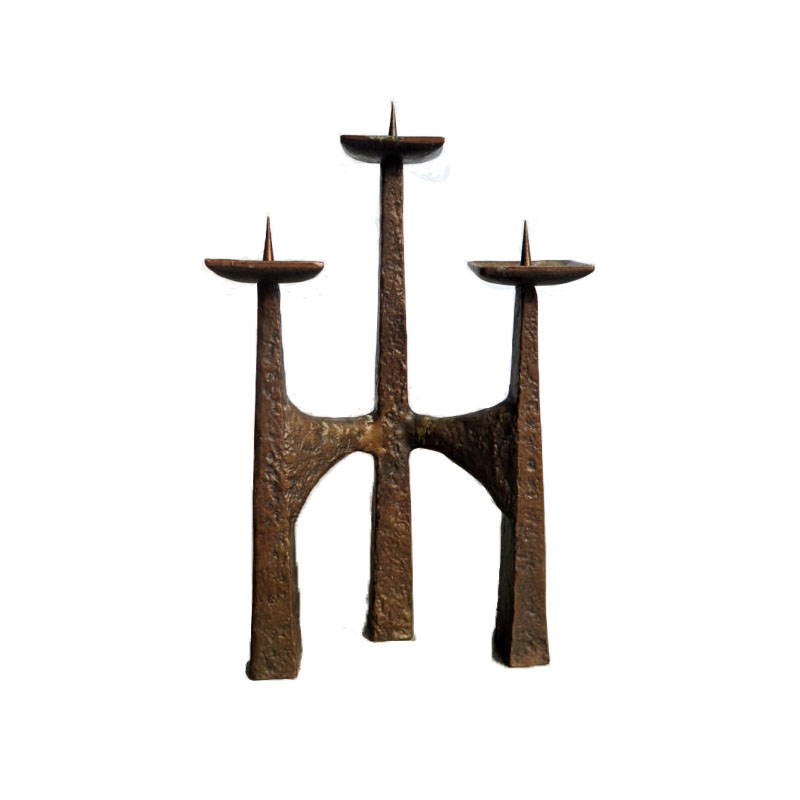 Modernist bronze candle holder