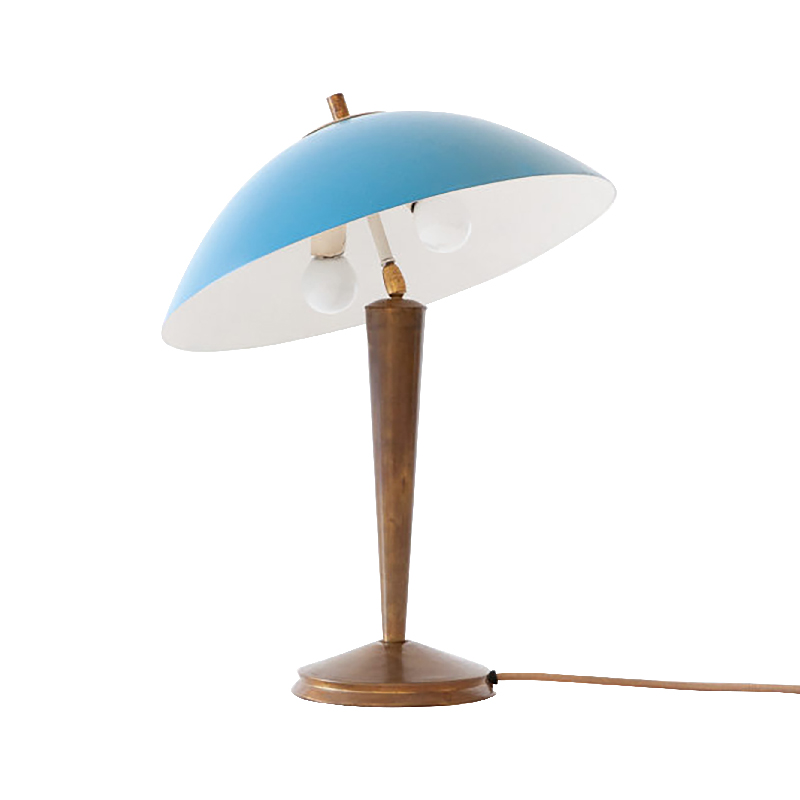 Italian Brass and Light Blue Table Lamp, 1950s