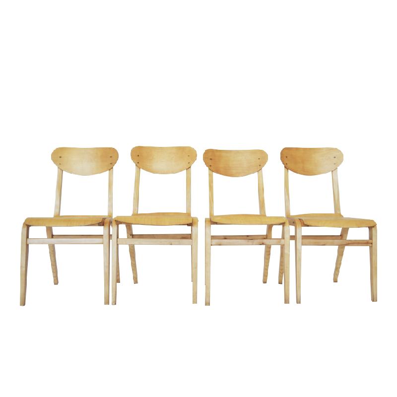 Dining Chairs by L.M Koslauskaitė-Stapulionienė for Vilniaus Baldų Kombinatas, 1950s, Set of 4