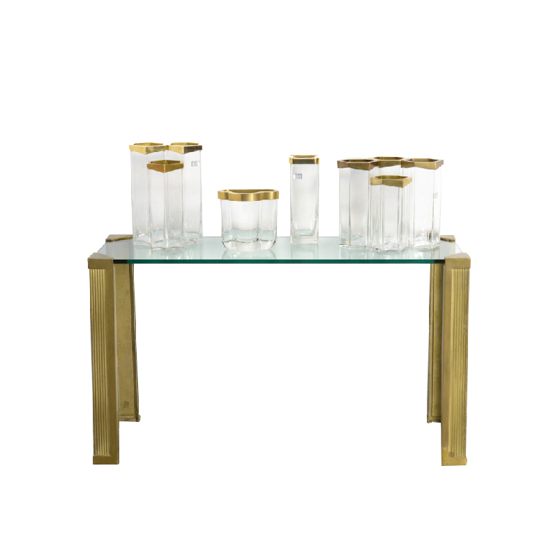 Set of Italian Crystal and Brass Vases