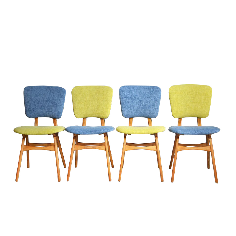 Vintage Reupholstered Chairs Set Of 4